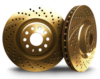 Picture of CHROMEBRAKES DRILLED AND SLOTTED GOLD Rear Rotor