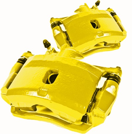 Picture of 1965 chevrolet corvette brakeworld powder coated replacement calipers yellow front left