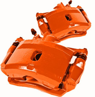 Picture of 1965 chevrolet corvette brakeworld powder coated replacement calipers orange rear right