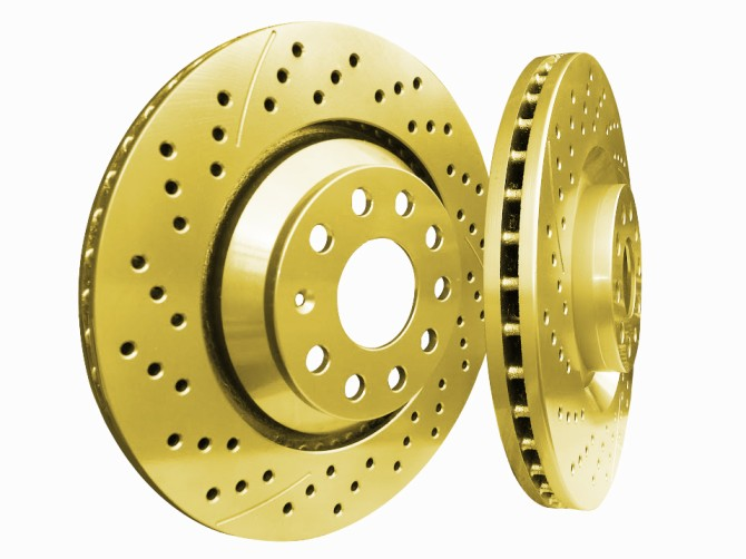 Picture of 2020 acura mdx chromebrakes drilled and slotted gold rear rotor