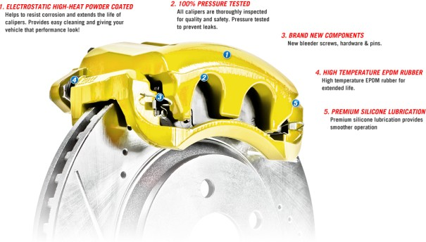 Picture of 1965 chevrolet corvette brakeworld powder coated replacement calipers yellow rear right